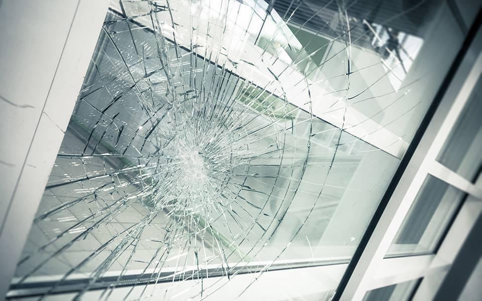 Broken facade glass, closeup